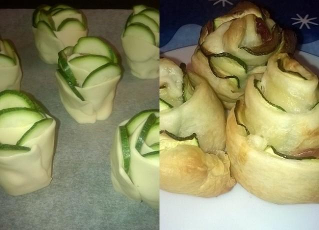 Rose di pasta sfoglia con zucchini, speck e formaggio